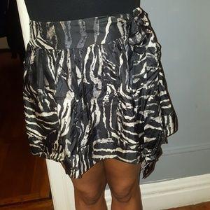Flirty zebra print silk skirt.